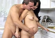 Love Home Porn – Black haired beauty is pregnant and loves sex