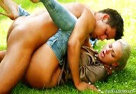 Nathaly Heaven fucks outdoors with gardener