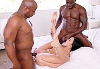 Beautiful Megan Rain fucks with twoo black men