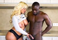 Blonde with big tits Blondie Fesser in a hot interracial scene