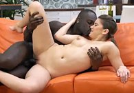 Unexpected interracial sex on couch instead of birthday party