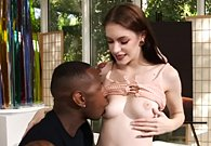 Young sexy girl Anna De Ville loves sex with big black cock